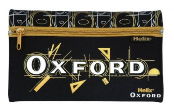 HELIX OXFORD PENCIL CASE NEOPRENE SINGLE POCKET CASE [Black & Gold]